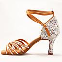 Χαμηλού Κόστους Παπούτσια χορού λάτιν-Γυναικεία Παπούτσια Χορού Σατέν Παπούτσια χορού λάτιν Απομίμηση Πέρλας / Αγκράφα / Κρυστάλλινη λεπτομέρεια Τακούνια Τακούνι καμπάνα Καφέ / Επίδοση