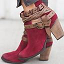 Χαμηλού Κόστους Γυναικείες Μπότες-Γυναικεία Μπότες Κοντόχοντρο Τακούνι Στρογγυλή Μύτη Σουέτ Μποτίνια Άνοιξη & Χειμώνας Μαύρο / Κρασί / Γκρίζο
