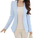 ราคาถูก เสื้อคลุมผู้หญิง-สำหรับผู้หญิง เสื้อคลุมสุภาพ, สีพื้น ปกคอแบะของเสื้อแบบน็อตช์ เส้นใยสังเคราะห์ สีดำ / สีแดงชมพู / สีฟ้า / เพรียวบาง