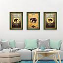 זול אומנות ממוסגרת-דפוס אומנות ממוסגרת סט ממוסגר - מופשט חיות פוליסטירן איור וול ארט