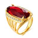 billige Motering-Dame Ring Syntetisk Ruby 1pc Gull Strass Titanium Stål Geometrisk Form Luksus Bohemsk Mote Bryllup Fest Smykker geometriske