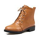 ราคาถูก รองเท้าแตะและรองเท้าโลฟเฟอร์สำหรับผู้หญิง-สำหรับผู้หญิง บูท ส้นหนา ปลายกลม PU รองเท้าบู้ทหุ้มข้อ อังกฤษ / Preppy ฤดูใบไม้ร่วง & ฤดูหนาว สีดำ / สีน้ำตาล / ผ้าขนสัตว์สีธรรมชาติ