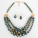 Χαμηλού Κόστους Σετ Κοσμημάτων-Γυναικεία Κρεμαστό Σκουλαρίκι Γεωμετρική Σχήμα U Απλός Γλυκός Μοντέρνα χαριτωμένο στυλ Κομψό Απομίμηση Μαργαριταριού Σκουλαρίκια Κοσμήματα Σκούρο καφέ / Πράσινο / Μπλε Για