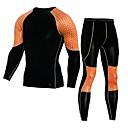 billige Våtdrakter, dykkerdrakter og våtskjorter-Herre Joggedress 2pcs Trening Sports Pustende Fort Tørring T-skjorte og joggebukse Sportsklær Høy Elastisitet Normal