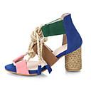ราคาถูก รองเท้าแตะผู้หญิง-สำหรับผู้หญิง รองเท้าแตะ ส้นหนา ที่สวมนิ้วเท้า PU ไม่เป็นทางการ วสำหรับเดิน ฤดูร้อนฤดูใบไม้ผลิ / ฤดูใบไม้ร่วง & ฤดูหนาว สีเขียวและสีน้ำเงิน / สีฟ้า+สีชมพู / ขาว