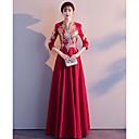 Χαμηλού Κόστους Νυφικά-Γραμμή Α Λαιμόκοψη V Μακρύ Σαρμέζ Κινέζικο Στυλ Επίσημο Βραδινό Φόρεμα 2020 με Διακοσμητικά Επιράμματα