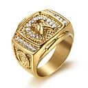 baratos Anéis Masculinos-Homens Anel Zircônia Cubica 1pç Dourado Aço Titânio Forma Geométrica Estiloso Diário Jóias Clássico Esperança Legal