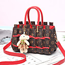 cheap Top Handles & Tote Bags-Women's Bear / Zipper PU(Polyurethane) / PU Top Handle Bag Striped Black / Brown / Red / Fall & Winter