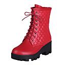 זול מגפי נשים-בגדי ריקוד נשים מגפיים עקב עבה בוהן עגולה PU מגפיים באורך אמצע - חצי שוק בריטי / פרפי סתיו חורף שחור / שקד / לבן / מסיבה וערב