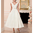 billige Bryllupskjoler-A-linje V-hals Ankellang Sateng Stropper Vintage Små Hvite Kjoler Made-To-Measure Brudekjoler med Perlearbeid 2020