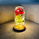 baratos Flores Artificiais & Vasos-a bela e a fera rosa de seda vermelha rosa luzes led dura para sempre na cúpula de vidro na base de madeira presente para o dia dos namorados aniversário de casamento aniversário aniversário