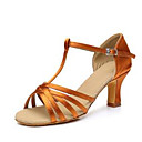 Χαμηλού Κόστους Παπούτσια χορού λάτιν-Γυναικεία Παπούτσια Χορού Σατέν Παπούτσια χορού λάτιν Τακούνια Κουβανικό Τακούνι Εξατομικευμένο Μαύρο / Καφέ / Κάμελ / Επίδοση / Δέρμα