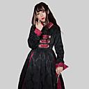 billige Lolitakjoler-Tradisjonell / vintage Vintage Classic Lolita Kjoler Party-kostyme Kostume Festkjole Dame Japansk Cosplay-kostymer Svart Helfarge Jacquardvevnad Vintage Biskop Langermet Lang Lengde