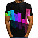 ราคาถูก เสื้อยืดและเสื้อกล้ามผู้ชาย-สำหรับผู้ชาย ขนาดพิเศษ เสื้อเชิร์ต ลายต่อ คอกลม 3D สายรุ้ง / แขนสั้น