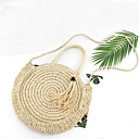 ราคาถูก กระเป๋า Totes-สำหรับผู้หญิง Straw กระเป๋าถือยอดนิยม สีทึบ ผ้าขนสัตว์สีธรรมชาติ / สีน้ำตาล / ฤดูใบไม้ร่วง & ฤดูหนาว