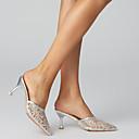 ราคาถูก รองเท้าแตะ & Flip-Flops ผู้หญิง-สำหรับผู้หญิง ตารางไขว้ ฤดูร้อน ไม่เป็นทางการ / minimalism รองเท้าไม้ & รองเท้าหัวทู่ ส้นลูกแมว Pointed Toe สีดำ / เงิน / สีชมพู