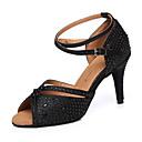 baratos Sapatos de Dança Latina-Mulheres Sapatos de Dança Couro Sintético Sapatos de Dança Latina Cristal / Strass Salto Salto Alto Magro Personalizável Preto / Espetáculo / Ensaio / Prática