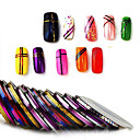 billiga 3D klistermärke-30st / väska 1mm blandade färger radium spik linje sticker rulle stripande tejp linje nagel konst dekoration klistermärke lim