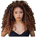 billige Ombre hairextensions-Ekte hår Blonde Forside Parykk Gratis del stil Malaysisk hår Kinky Curly Svart Parykk 130% Hair Tetthet Dame Dame Lang Blondeparykker med menneskehår Clytie