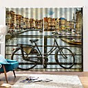baratos Cortinas 3D-Decoração de casa literária cortina de janela de alta definição impressão digital indelével 100% poliéster blackout para o quarto / sala de estar backgound cortinas