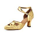 billige Ballroom-sko og moderne dansesko-Dame Moderne sko / Ballett Syntetisk Cross Strap Høye hæler Tvinning Kubansk hæl Kan spesialtilpasses Dansesko Gull / Ytelse