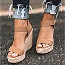 ราคาถูก รองเท้าแตะและรองเท้าโลฟเฟอร์สำหรับผู้หญิง-สำหรับผู้หญิง รองเท้าแตะ รองเท้าส้นตึก เปิดนิ้ว PU ไม่เป็นทางการ ฤดูร้อน สีดำ / อูฐ / เสือดาว