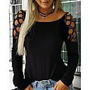 billige Fashion Rings-T-skjorte Dame - Ensfarget Svart