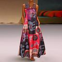 billige Wall Tapestries-Dame Store størrelser Løstsittende Swing Kjole - Geometrisk Dyp V Maksi