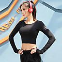 billige Kaffe og te-kvinner yoga topp sport t-skjorte løpegymnastikk treningsøkt yoga langermet aktivtøy svette-wicking rask tørr pustende lettvekt høy elastisitet slank