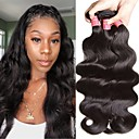 billige Motearmbånd-6 pakker Brasiliansk hår Krop Bølge Ubehandlet hår Menneskehår Vevet Bundle Hair En Pack Solution 8-28inch Naturlig Farge Hårvever med menneskehår Lugtfri Kul ubehandlet Hairextensions med menneskehår