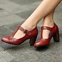 baratos Sapatos de Salto-Mulheres Saltos Salto Robusto Couro Ecológico Primavera Preto / Amarelo / Vermelho