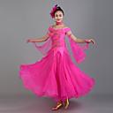 זול הלבשה לריקודים סלוניים-ריקודים סלוניים שמלות בגדי ריקוד נשים הצגה ספנדקס / אורגנזה אפליקציות שרוולים קצרים טבעי שמלה / Neckwear