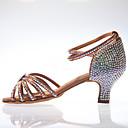 ราคาถูก ชุดเต้นรำลาติน-สำหรับผู้หญิง รองเท้าเต้นรำ ซาติน ลาติน หัวเข็มขัด / คริสตัล / คริสตัล / พลอยเทียม ส้น หนา Heel สีดำ / สีน้ำตาล / Performance