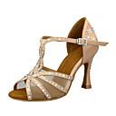 povoljno Cipele za latino plesove-Žene Plesne cipele Saten Cipele za latino plesove Kristalni detalji / Blistati / Crystal / Rhinestone Štikle Deblja visoka potpetica Moguće personalizirati Čokolada / Crn / Badem