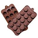 billige Stativer og holdere-Yiwu pho_06gddiy Silikon 15 med 3 forskjellige blomsterformede sjokoladeformer