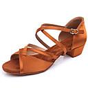 baratos Kids' Flats-Para Meninas Sapatos de Dança Cetim Sapatos de Dança Latina Salto Salto Grosso Preto / Castanho Escuro / Espetáculo / Couro