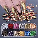 billiga folie Papper-12 galler nagelsekvenser paillette aluminium oregelbundna flingor guld silver pigment nagel konst dekoration spegel glitter folie papper
