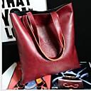 זול תיקי יד-בגדי ריקוד נשים רוכסן PU תיק יד צבע אחיד שחור / חום / חום כהה