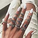 billige Motering-Dame Ring Ring Set 14pcs Sølv Legering Klassisk Vintage Etnisk Daglig Gate Smykker Klassisk Blomst Kul