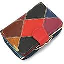 povoljno Novčanici-Žene Patent-zatvarač Kravlja koža Novčanici Color block Crn / Braon / Jesen zima