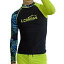 ราคาถูก ชุดดำน้ำ-LCDRMSY สำหรับผู้ชาย Rash Guard Rash Guard Swim shirt รักษาให้อุ่น การป้องกันรังสียูวี แห้งเร็ว แขนยาว การว่ายน้ำ กีฬาทางน้ำ ลายต่อ ฤดูร้อน / ความยืดหยุ่นสูง