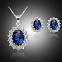 Χαμηλού Κόστους Σετ Κοσμημάτων-Γυναικεία Κουμπωτά Σκουλαρίκια Κρεμαστά Κολιέ Κλασσικό Στυλάτο Κλασσικό Επάργυρο Σκουλαρίκια Κοσμήματα Μπλε Για Καθημερινά Δουλειά 1set