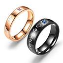 billige Ringer for Par-Par Parringer Ring 1pc Svart Rose Gull Titanium Stål Sirkelformet Enkel Grunnleggende Mote Gave Daglig Smykker Hjerte Bokstaver Kjærlighed Heart Smuk