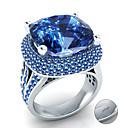 Χαμηλού Κόστους Χαραγμένο Δαχτυλίδια-Εξατομικευμένη Προσαρμοσμένη Μπλε Cubic Zirconia Δαχτυλίδι Κλασσικό Δώρο Υπόσχεση Φεστιβάλ Geometric Shape 1pcs Θαλασσί