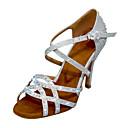 baratos Sapatos de Dança Latina-Mulheres Sapatos de Dança Sintéticos Sapatos de Dança Latina Gliter com Brilho / Detalhes em Cristal / Purpurina Salto Salto Alto Magro Personalizável Preto / Prata / Ensaio / Prática