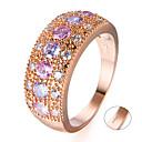 billige Graverte Ringer-personlig tilpasset Klar Kubisk Zirkonium Ring Klassisk Gave Love Festival Geometrisk Form 1pcs Rose Gull