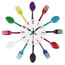 olcso Fali órák-evőeszköz fém konyha falióra kanál villát kreatív kvarc falra szerelt órák modern design