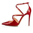 ราคาถูก รองเท้าส้นสูงผู้หญิง-สำหรับผู้หญิง รองเท้าส้นสูง ส้น Stiletto Pointed Toe หัวเข็มขัด หนังเทียม minimalism ฤดูร้อนฤดูใบไม้ผลิ / ฤดูใบไม้ร่วง & ฤดูหนาว Nude / แดง / สีดำ / พรรคและเย็น