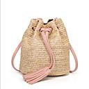 olcso Keresztpántos táskák-Női Rojt Szalma Vállon átvetős táska Arcpír rózsaszín / Fukszia / Barna