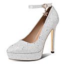 ราคาถูก รองเท้าส้นสูงผู้หญิง-สำหรับผู้หญิง รองเท้าส้นสูง รองเท้าส้นสูง ส้น Stiletto Pointed Toe PU คลาสสิก ตก สีดำ / เงิน / สีชมพู / งานแต่งงาน / พรรคและเย็น
